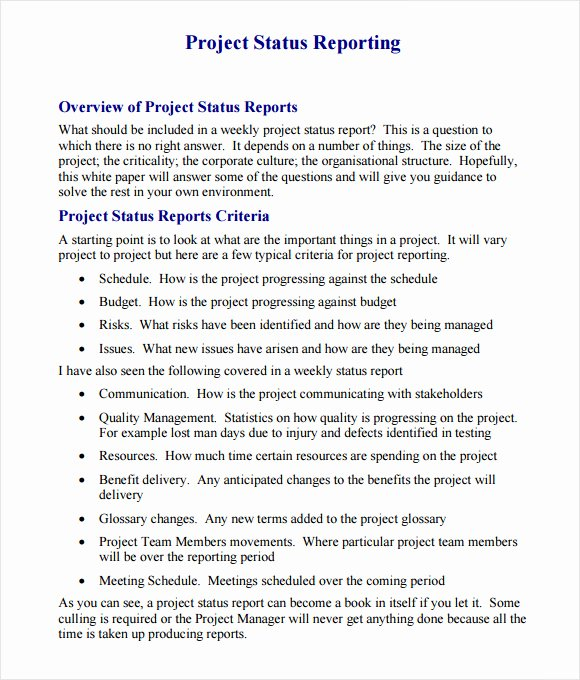 Free Project Status Report Template Luxury 14 Sample Project Status Reports – Pdf Word Pages