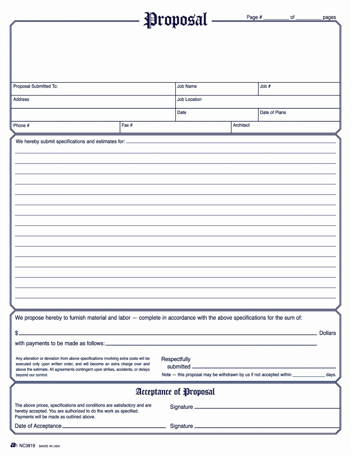 Free Proposal form Template Awesome Free Construction Proposal Template Business Receipt Word