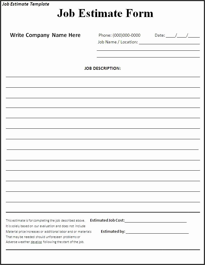 Free Proposal form Template Awesome Free Estimate Template