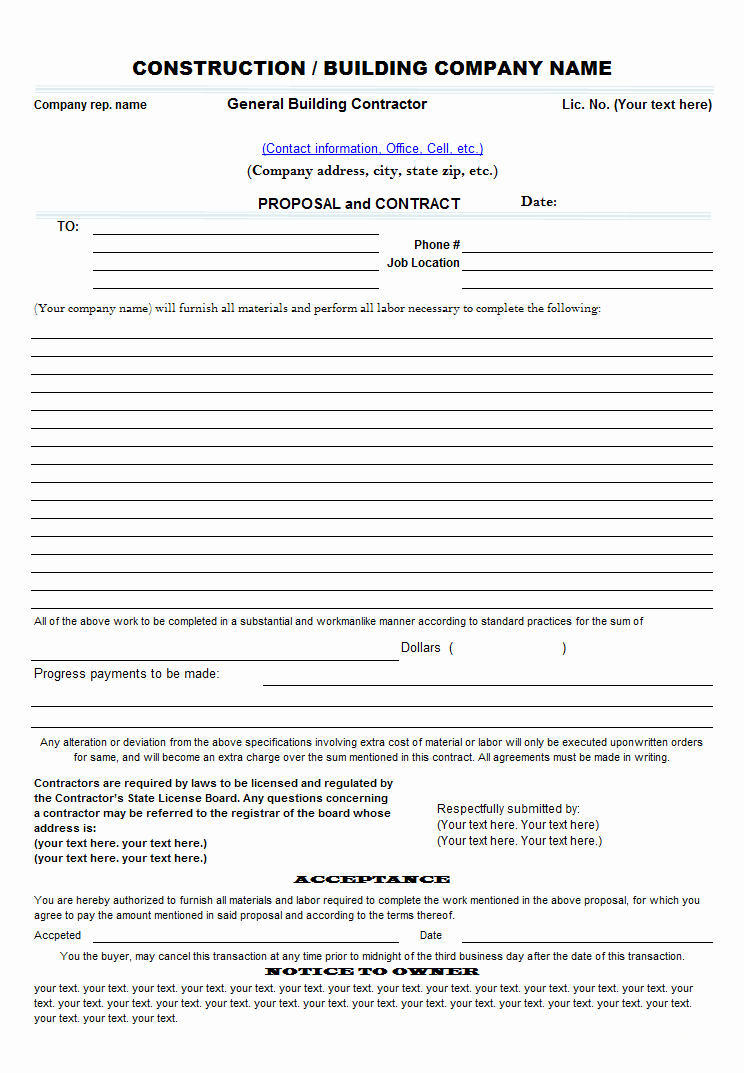 Free Proposal form Template Best Of Free Construction Proposal Template Construction