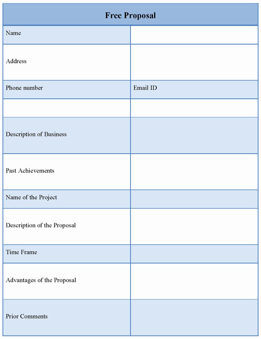 Free Proposal form Template Elegant Free Proposal Template