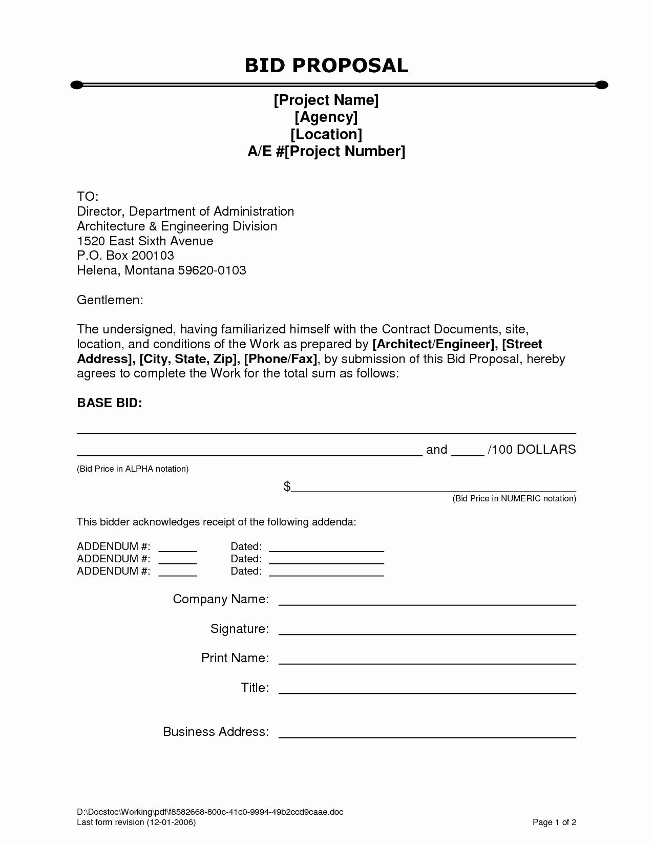 Free Proposal form Template Fresh Bid Proposal Letter Mughals