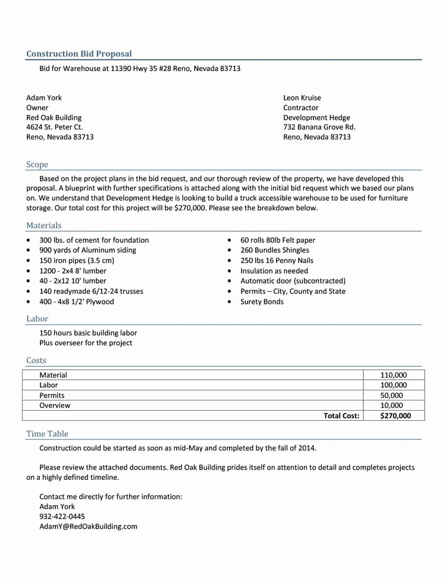 Free Proposal form Template Inspirational Construction Proposal Template