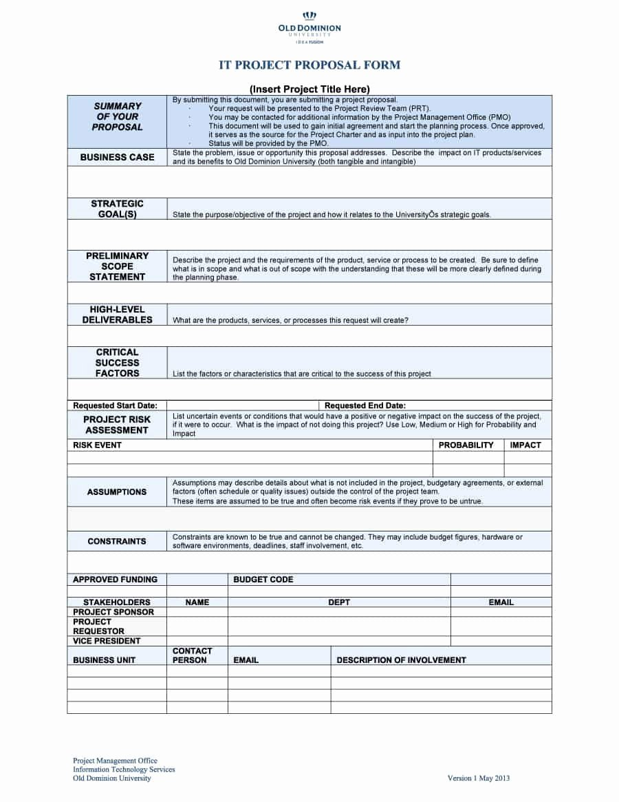 Free Proposal form Template Lovely 43 Professional Project Proposal Templates Template Lab