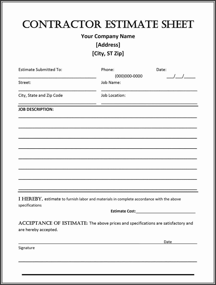 Free Proposal form Template Luxury 44 Free Estimate Template forms [construction Repair