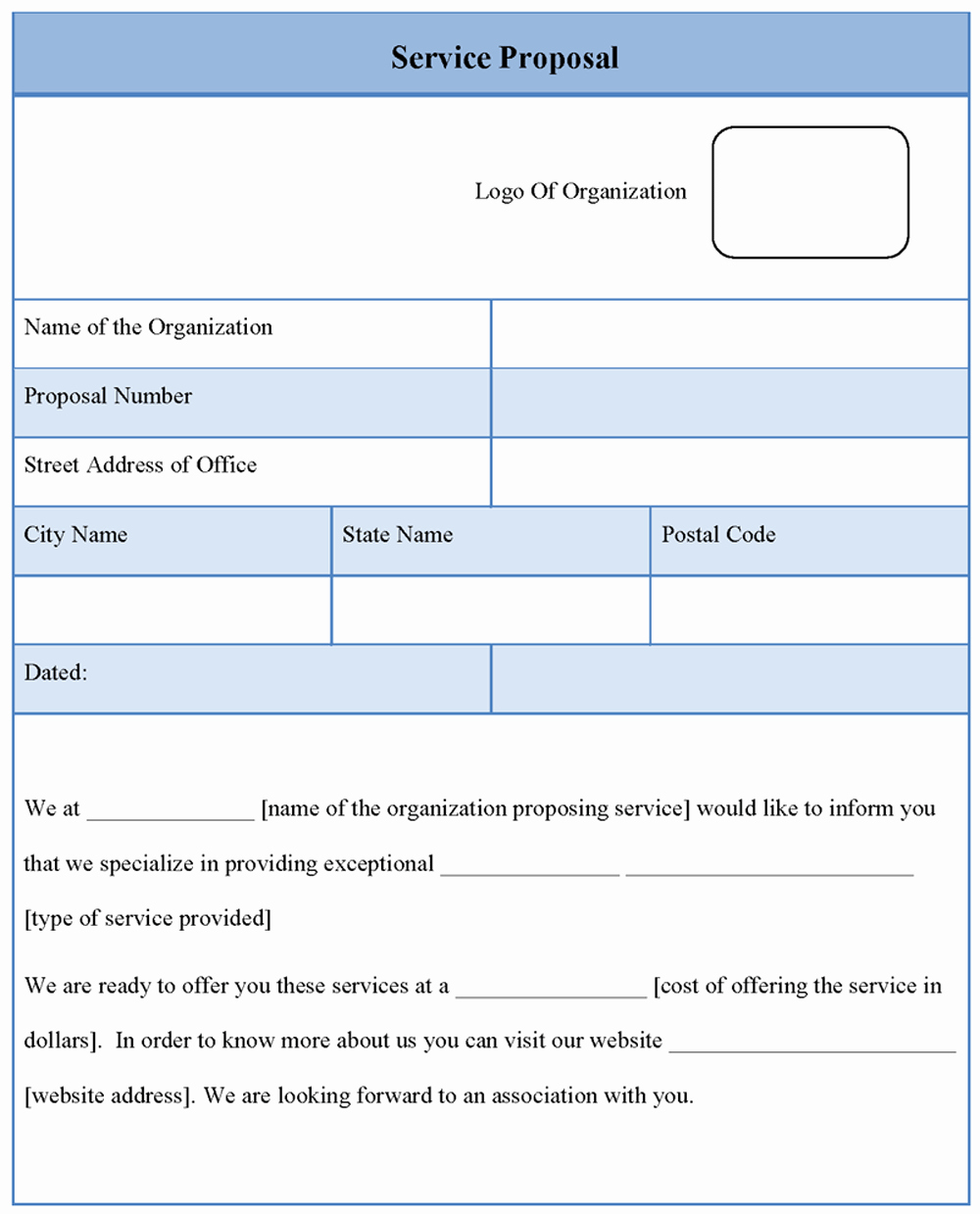 Free Proposal form Template New Free Proposal Template