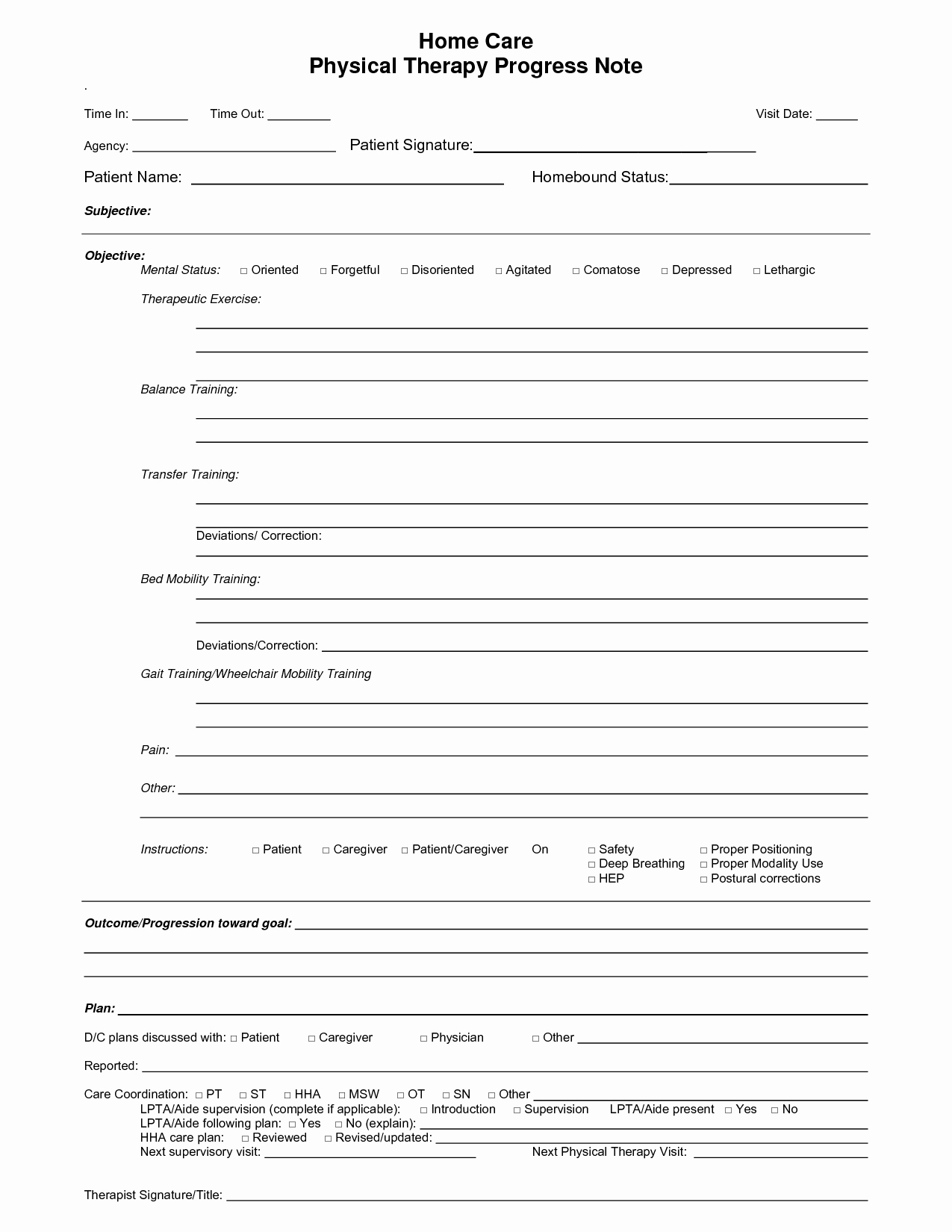 Free Psychotherapy Progress Note Template Lovely Physical therapy Progress