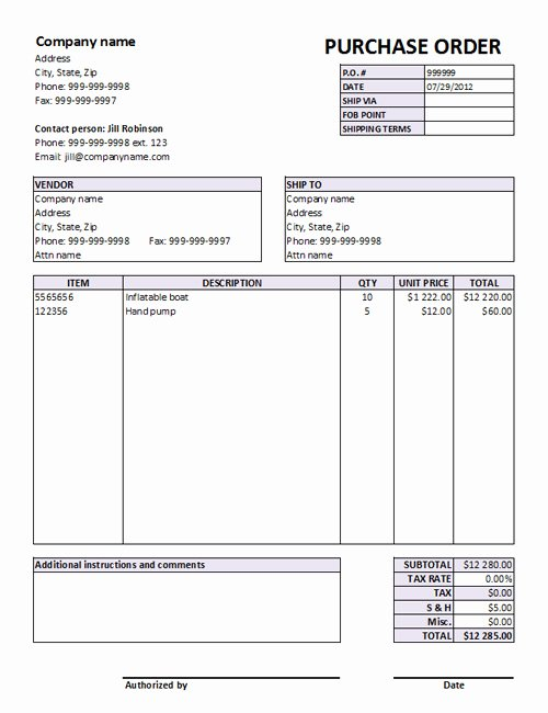 Free Purchase order Template Beautiful Editable Excel Purchase order Template