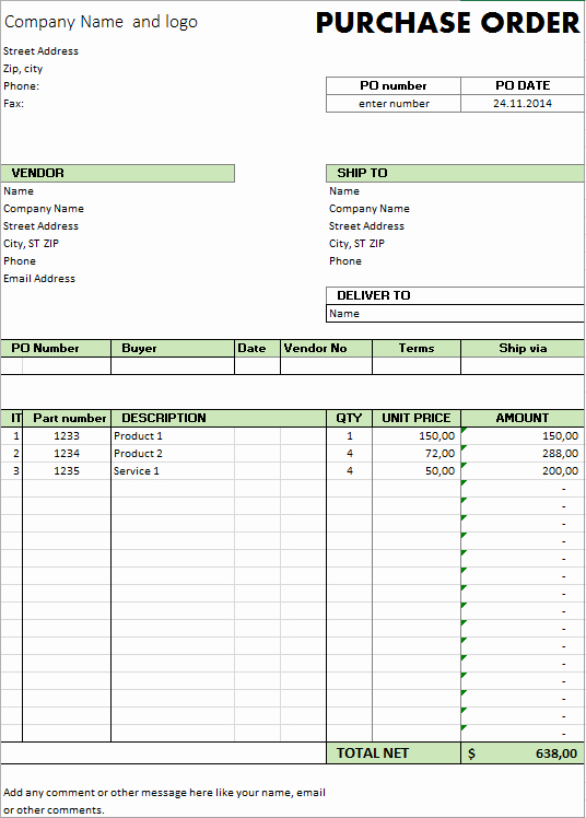 Free Purchase order Template Best Of Excel Template Free Purchase order Template for