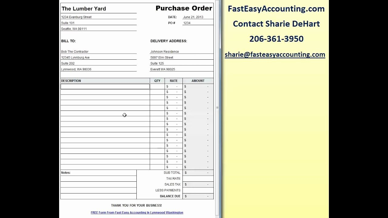 Free Purchase order Template Inspirational Free Contractor Purchase order Template Excel Download