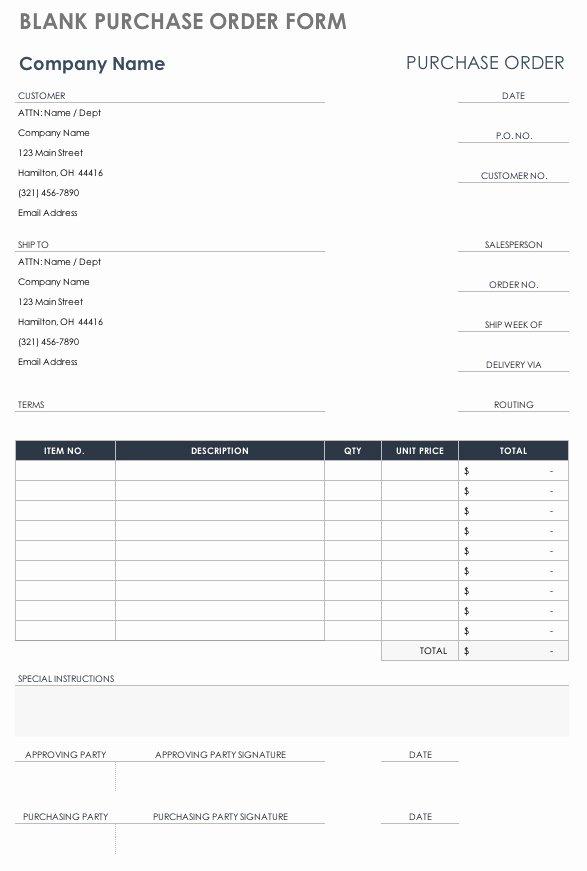 Free Purchase order Template Luxury Free Purchase order Templates