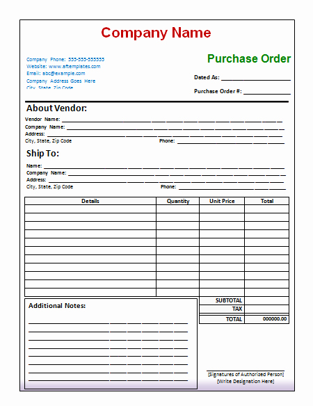 Free Purchase order Template New 40 Free Purchase order Templates forms