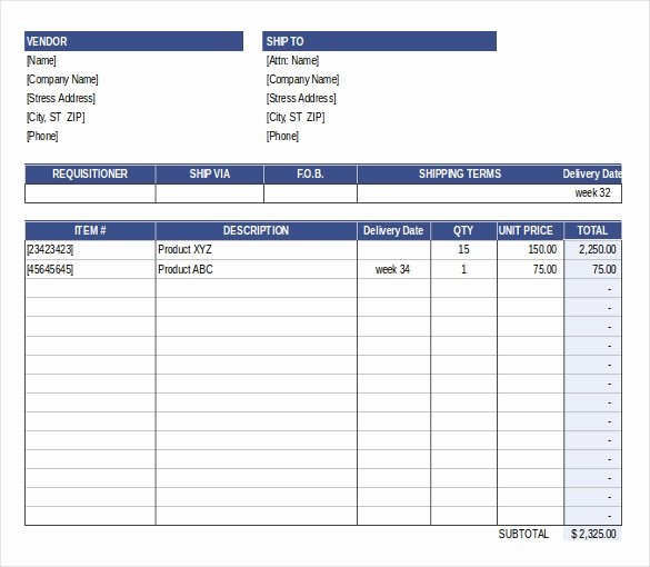 Free Purchase order Template New Purchase order Template Free Templates