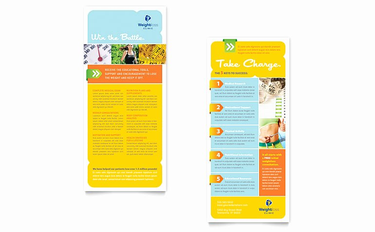 Free Rack Card Template Beautiful Weight Loss Clinic Rack Card Template Word & Publisher