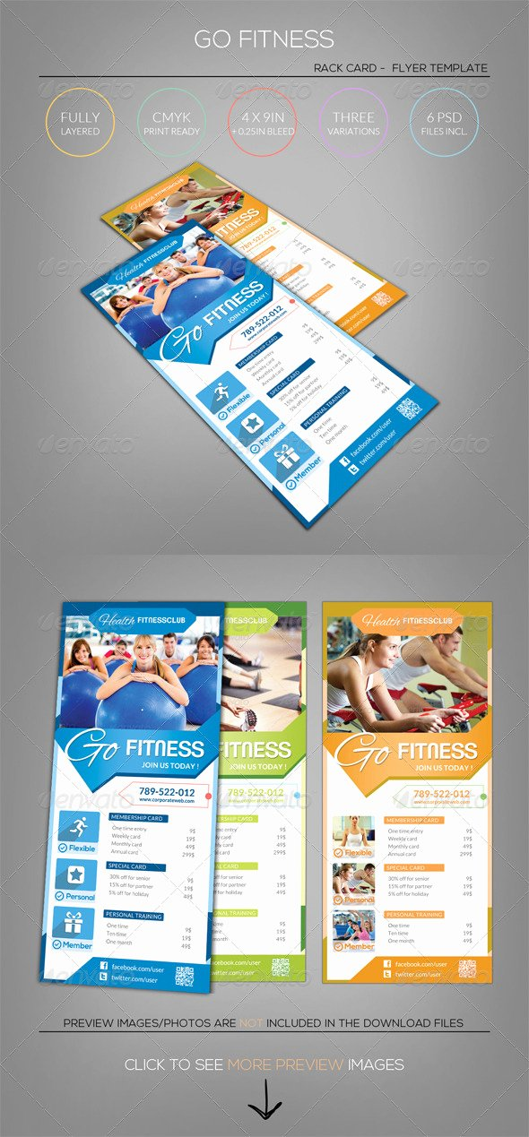 Free Rack Card Template Elegant Pure Fitness Go Gym Rack Card Flyer Template by