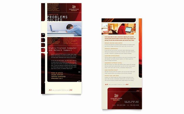 Free Rack Card Template Elegant Puter Repair Rack Card Template Word & Publisher