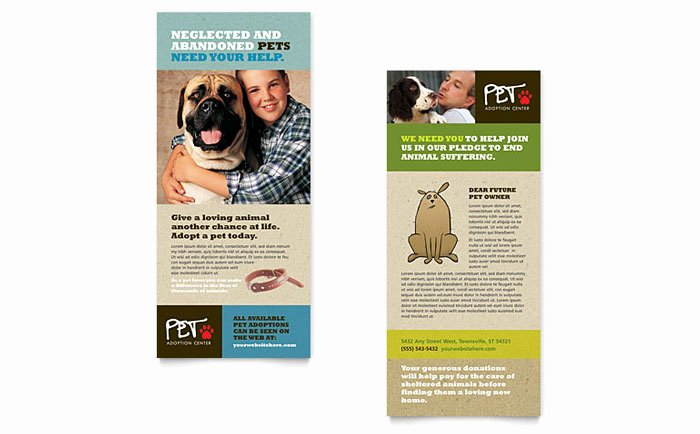 Free Rack Card Template Luxury Animal Shelter & Pet Adoption Rack Card Template Design