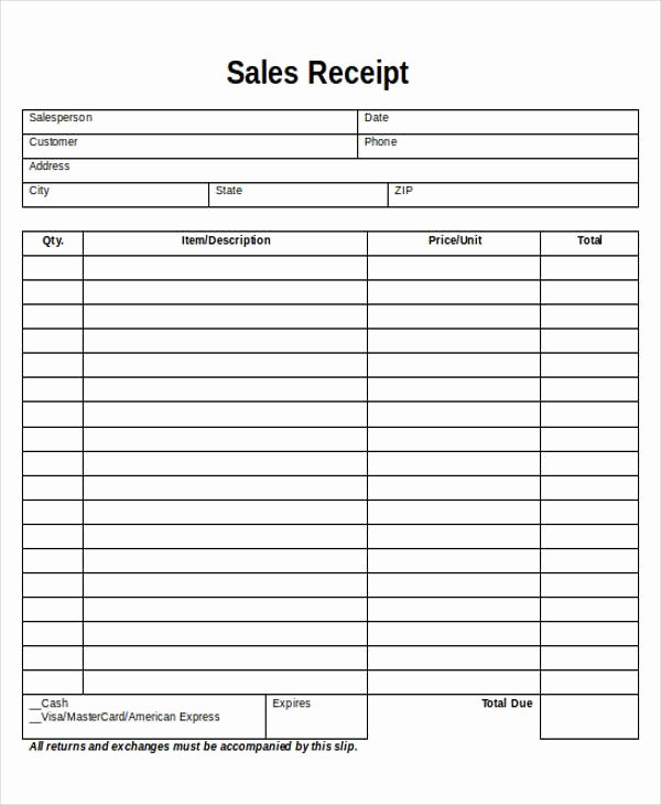Free Receipt Template Pdf Beautiful 5 Printable Sales Receipt Samples
