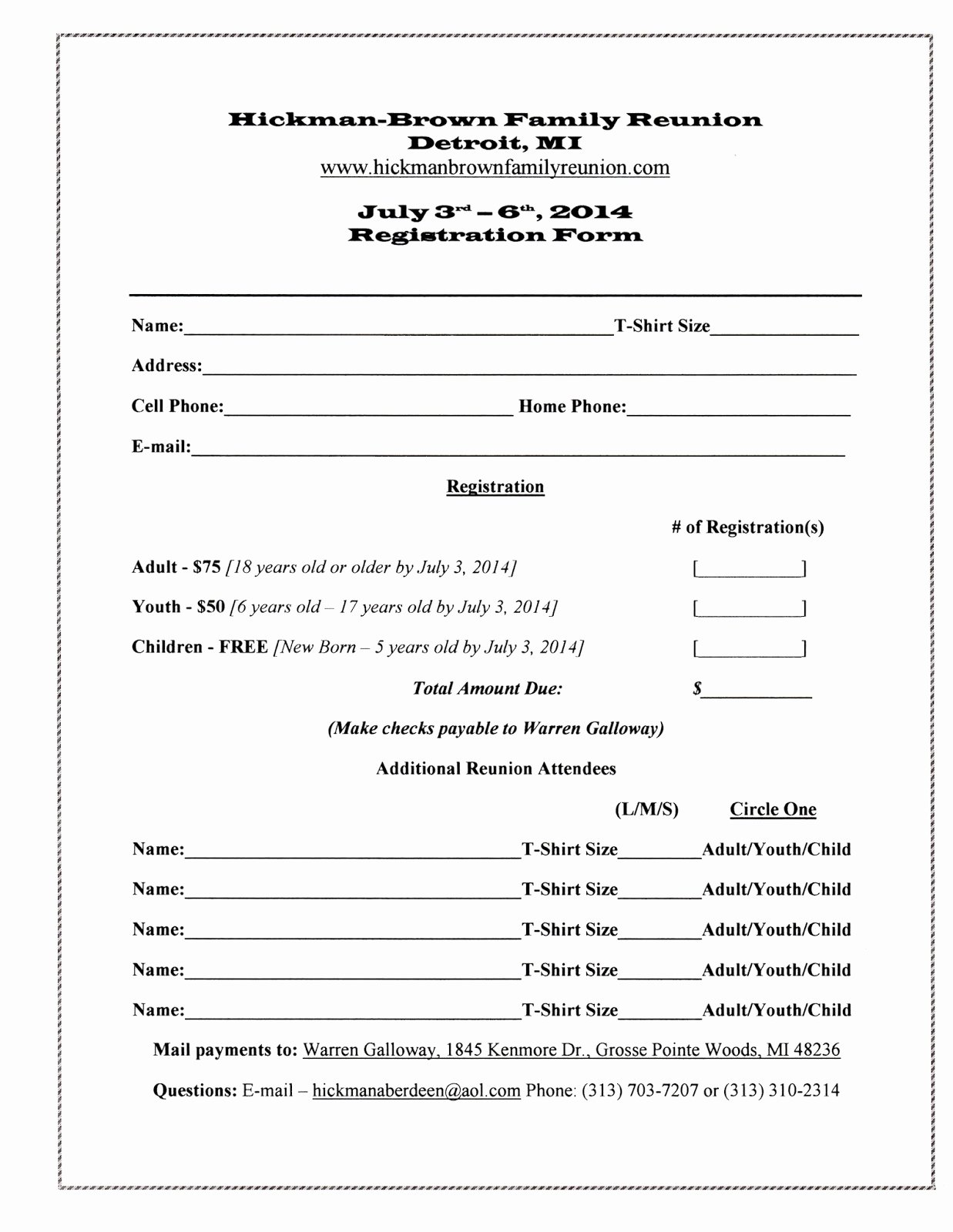 Free Registration form Template Awesome 7 Best Of Family Reunion forms Printable Free