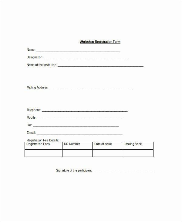 Free Registration form Template Fresh Registration form Template 9 Free Pdf Word Documents