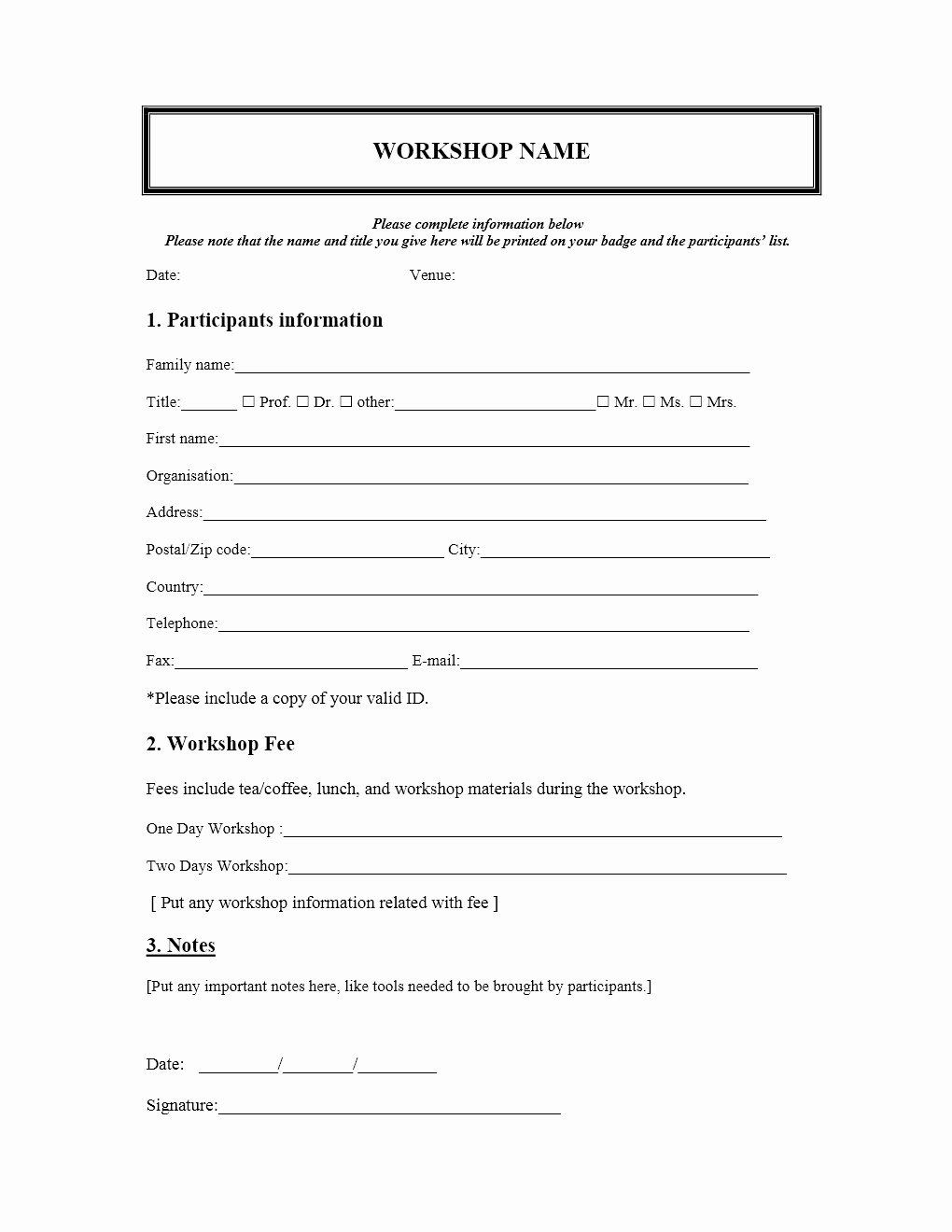Free Registration form Template Fresh Workshop Registration form