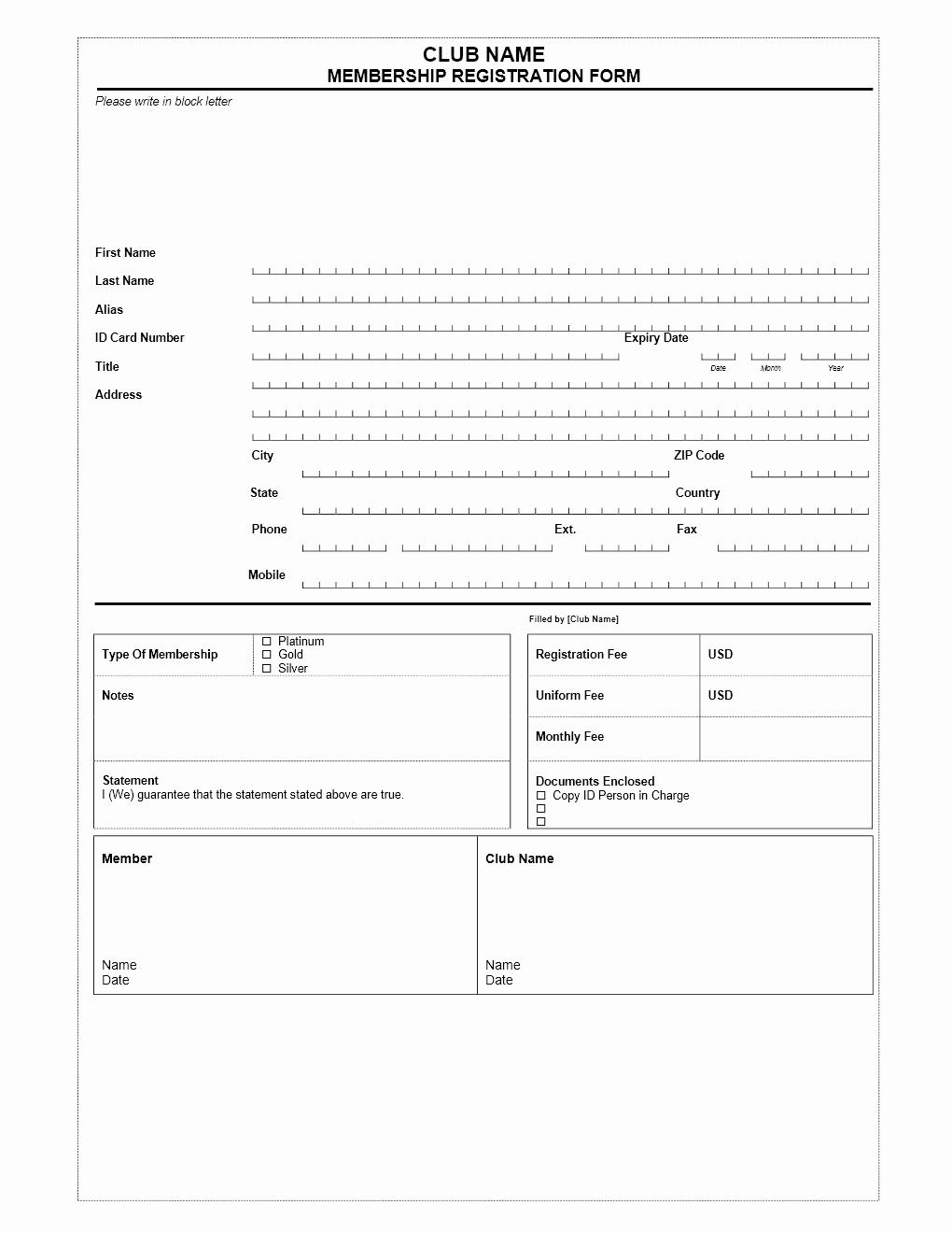 Free Registration form Template Luxury Club Membership Application form