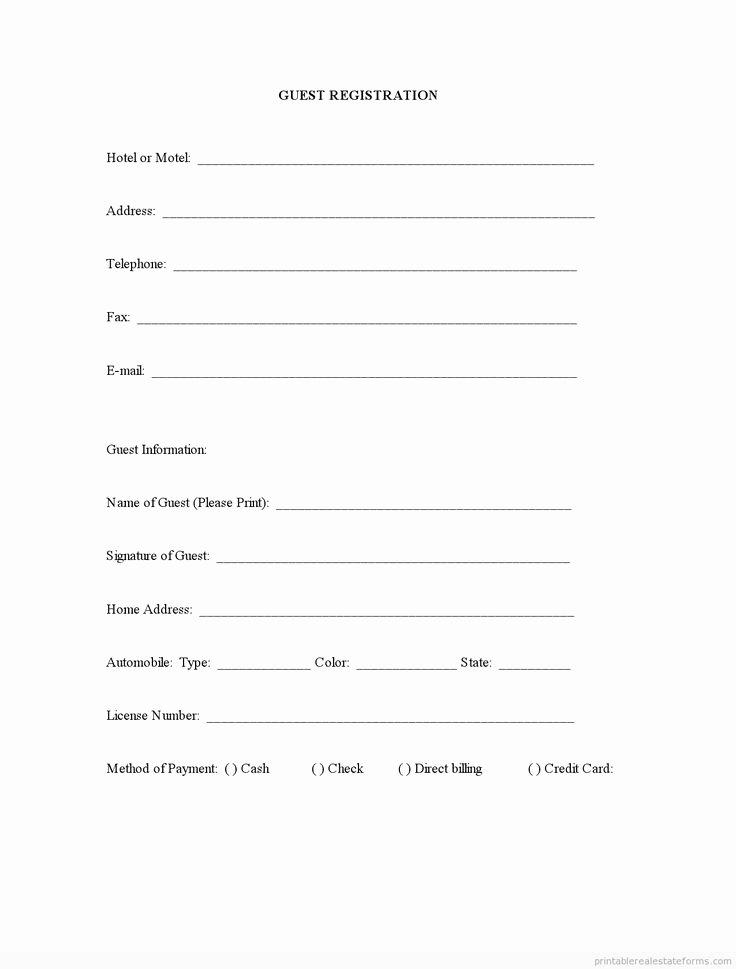 Free Registration form Template Luxury Sample Printable Guest Registration form