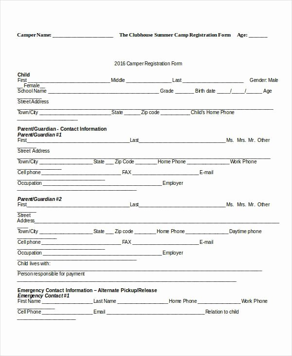 Free Registration form Template New Camp Registration form Template Invitation Template