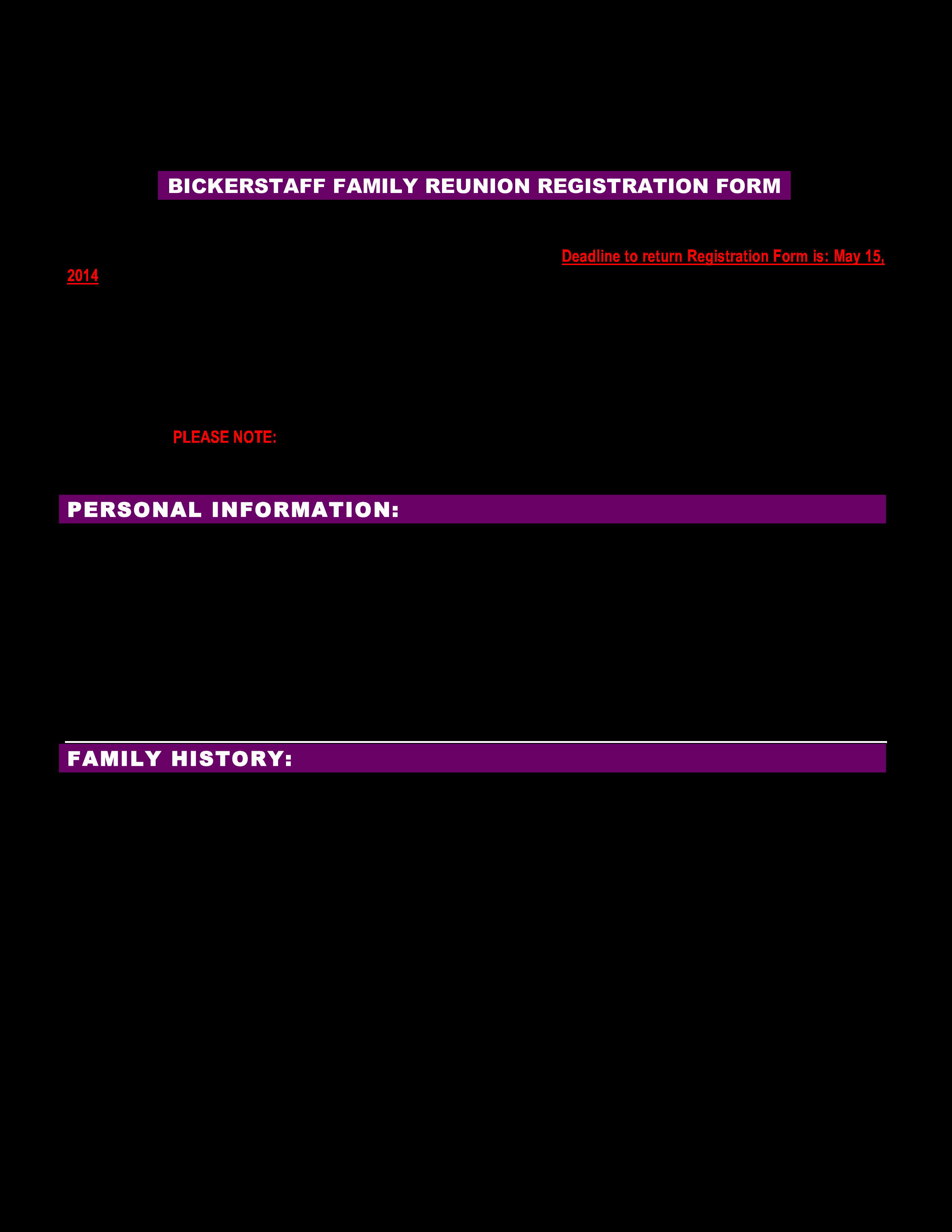 Free Registration form Template New Free Family Reunion Registration form