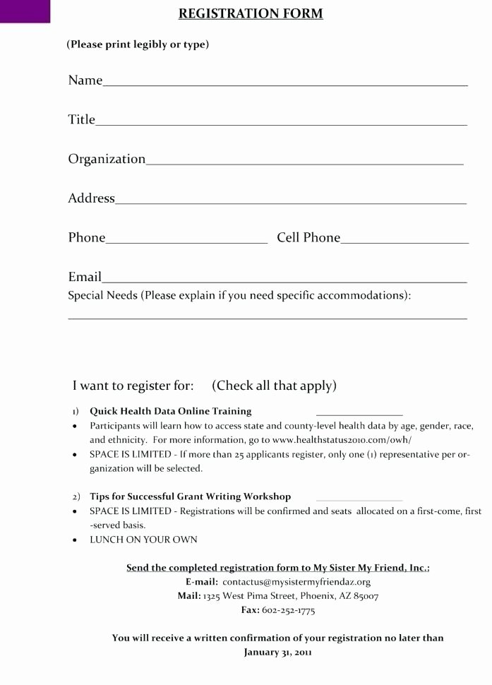 Free Registration form Template Unique Size Registration form Media Matters Training