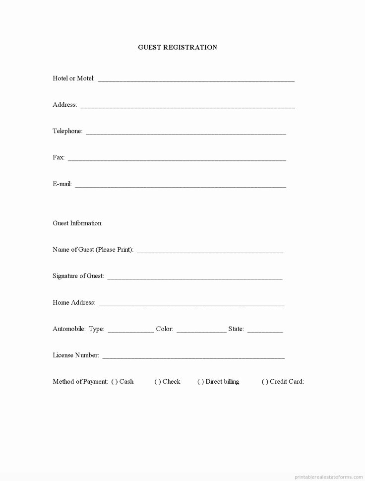 Free Registration forms Template Beautiful Sample Printable Guest Registration form