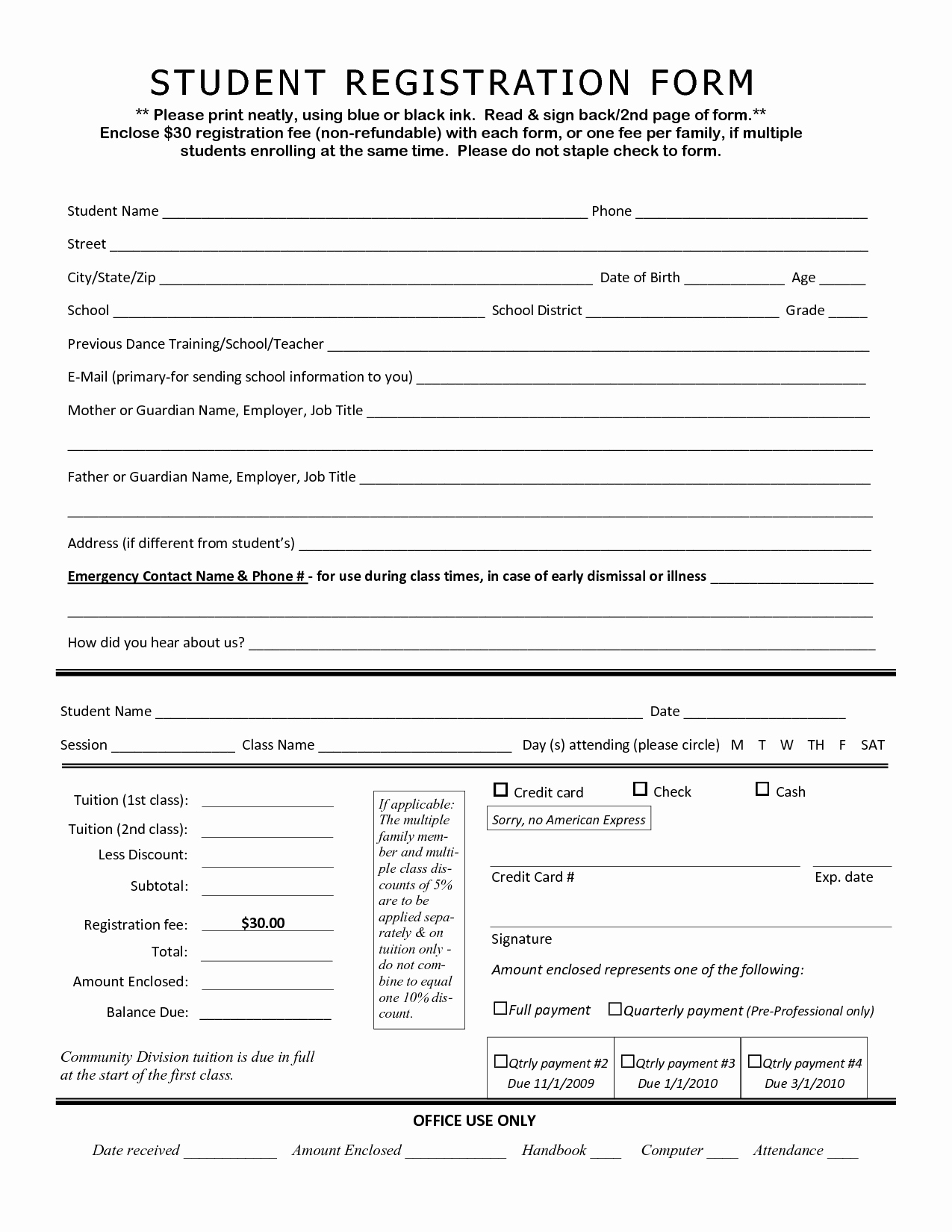 Free Registration forms Template Best Of Student Application form Template Portablegasgrillweber