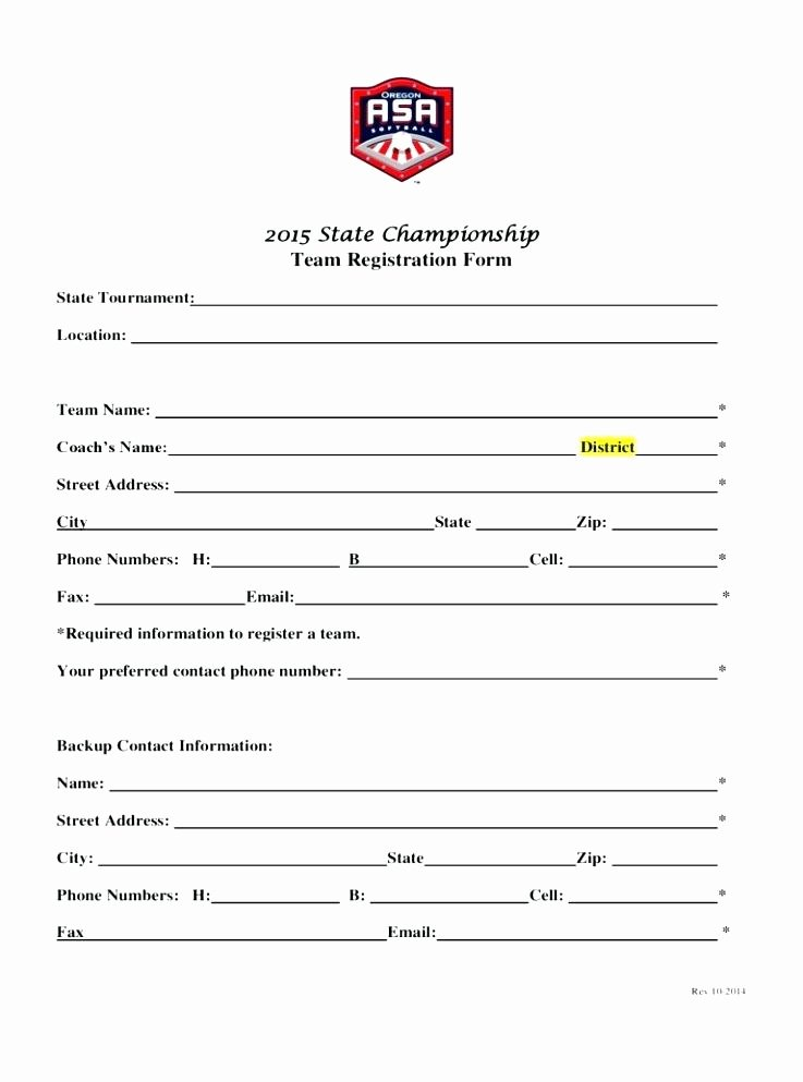 Free Registration forms Template Fresh soccer Roster Template for Excel Example Sports Team