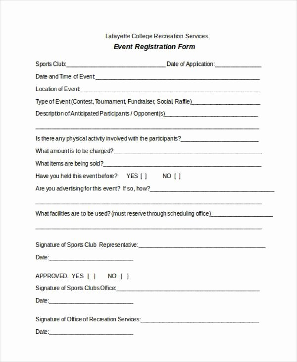 Free Registration forms Template Lovely Registration form Templates