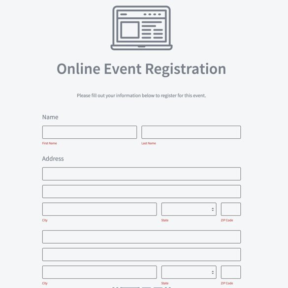 Free Registration forms Template New event Registration form Builder