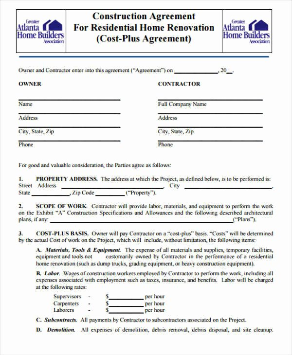 Free Residential Roofing Contract Template Elegant 7 Construction Contract Templates – Word Google Docs
