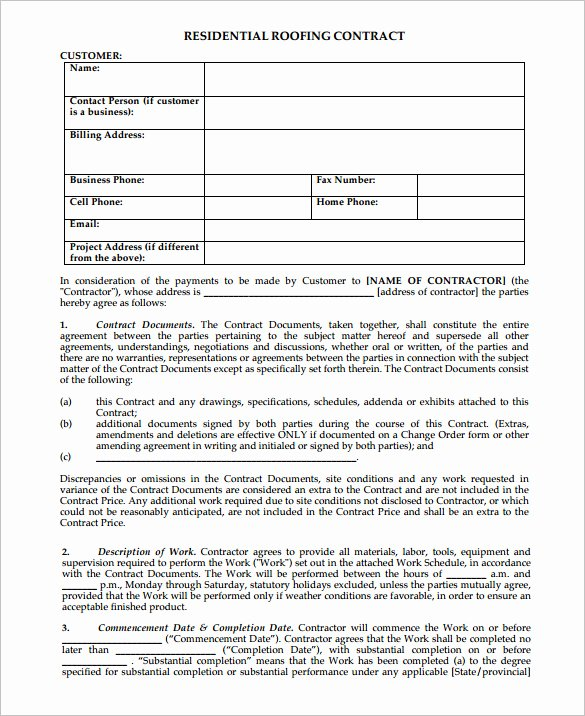 Free Residential Roofing Contract Template Fresh 14 Roofing Contract Templates Word Google Docs Apple
