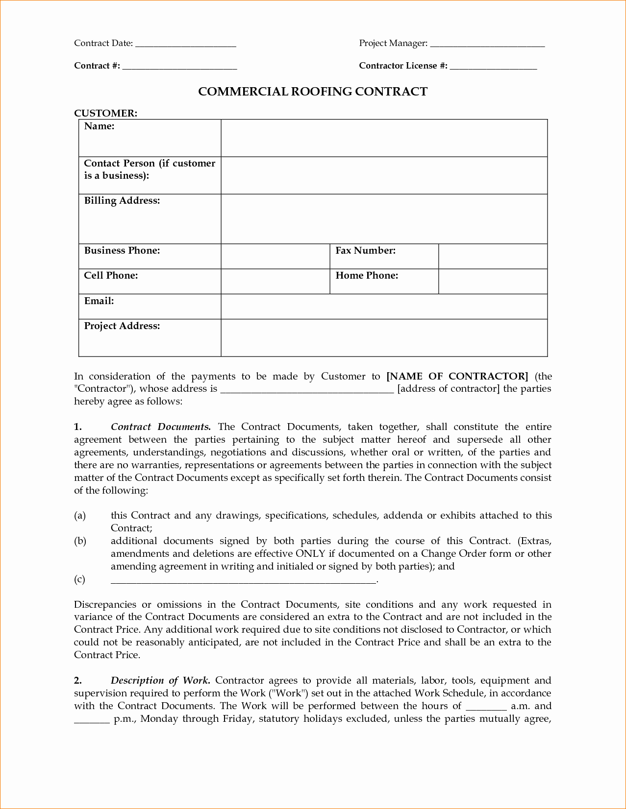 Free Residential Roofing Contract Template Fresh Contract Roofing Contract Template