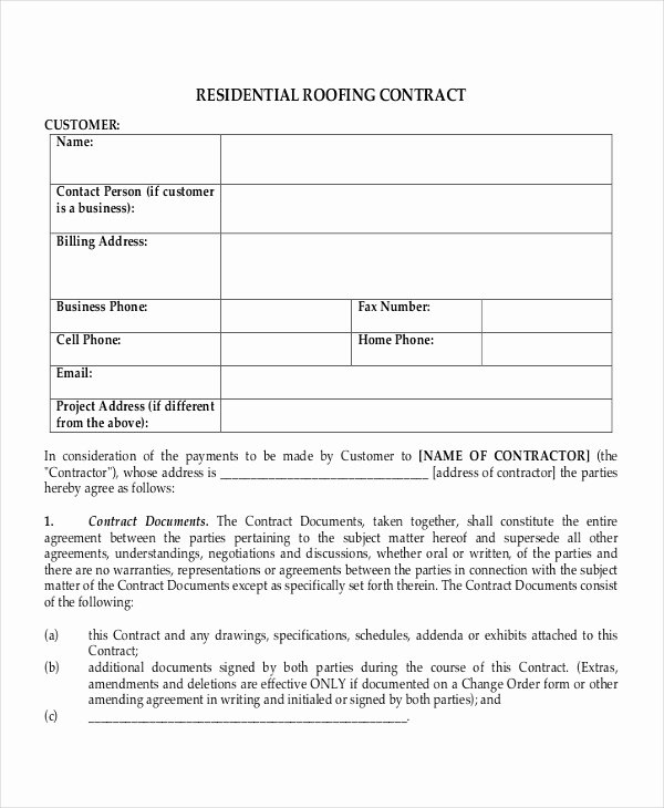 Free Residential Roofing Contract Template Luxury 28 Contract Templates Free Sample Example format
