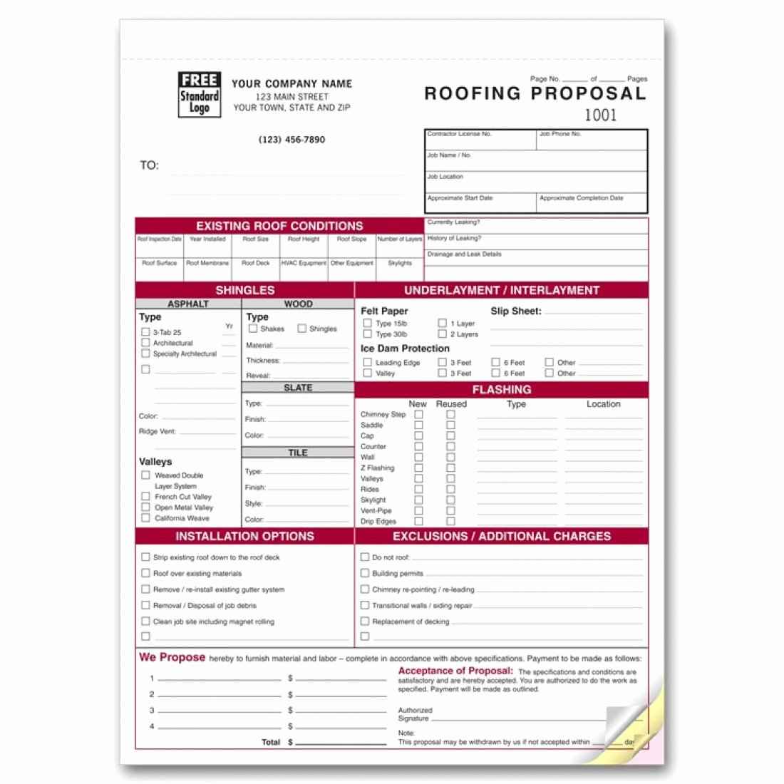 Free Residential Roofing Contract Template Unique Detailed Roofing Proposal forms 6566 at Print Ez