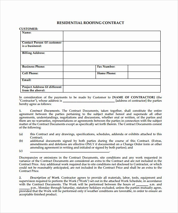 Free Roofing Contract Template Fresh Roofing Contract Template 9 Download Documents In Pdf