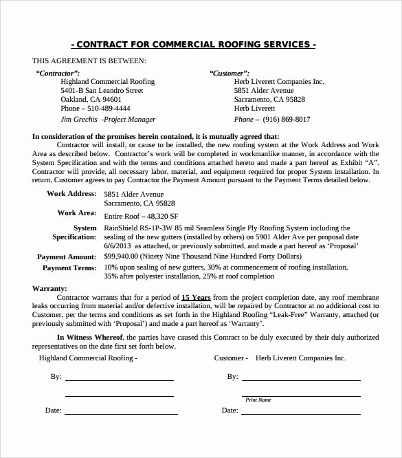Free Roofing Contract Template Lovely Roofing Contract Template 9 Download Documents In Pdf