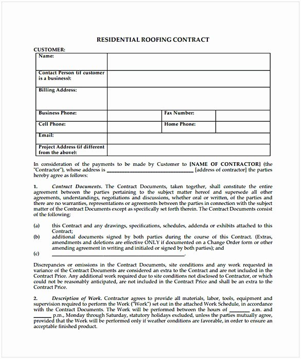 Free Roofing Contract Template Lovely Roofing Contract Template