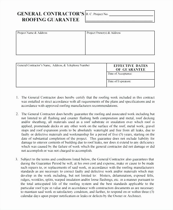 Free Roofing Contract Template Unique General Contract Template General Contractor Contracts