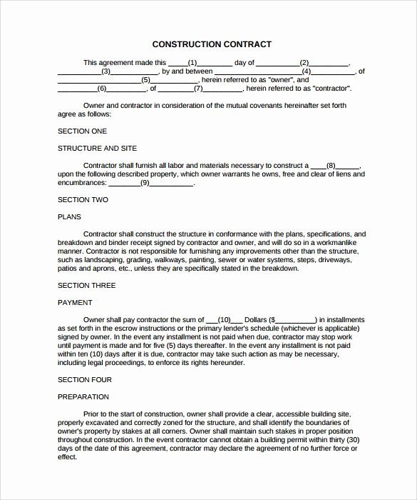 Free Roofing Contract Template Unique Simple Construction Contract 8 Construction Contract