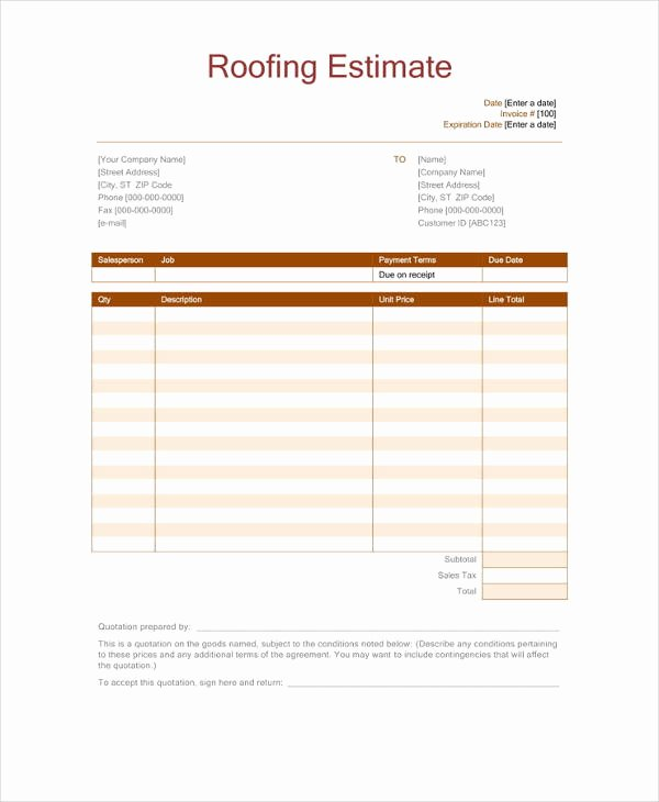 Free Roofing Estimate Template Awesome 12 Roofing Estimate Templates Pdf Doc