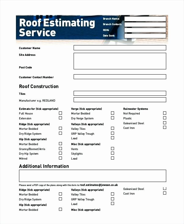 Free Roofing Estimate Template Fresh Free Roofing Bid Proposal forms Template Roof Estimate