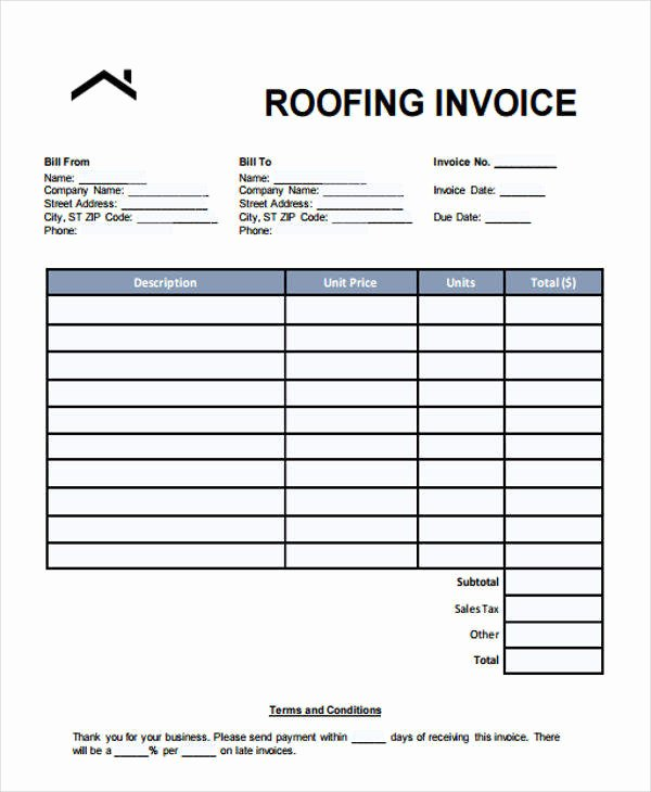 Free Roofing Estimate Template Luxury 6 Roofing Invoice Templates – Free Sample Example