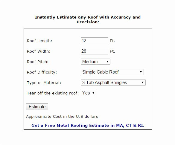 Free Roofing Estimate Template Unique 12 Roofing Estimate Templates Pdf Doc
