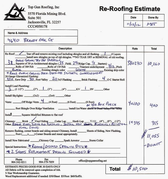 Free Roofing Estimate Template Unique Free Printable Blank Roofing Estimate forms